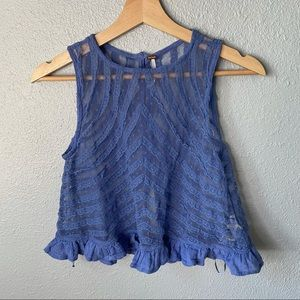 Free People Sheer Lace Cropped Tank size xs
